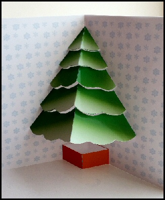 Christmas tree card project and more free craft downloads for 3d xmas cards to make