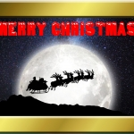 Free Santa Sleigh Card to downlaod and print.