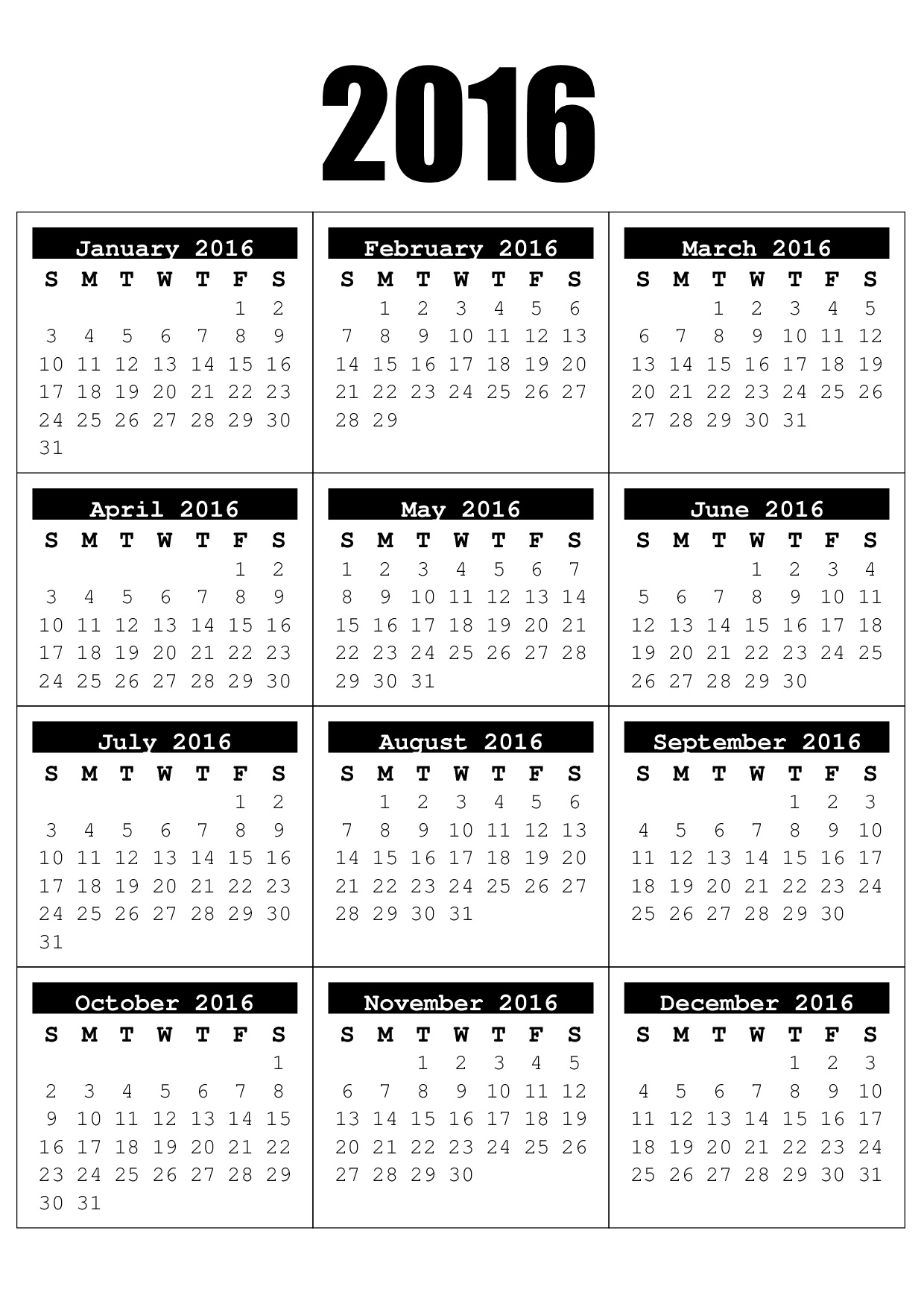 2016 Full Year Calendar - Free Craft Downloads
