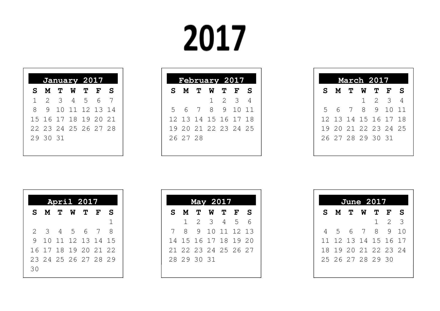6 month calendar 2017