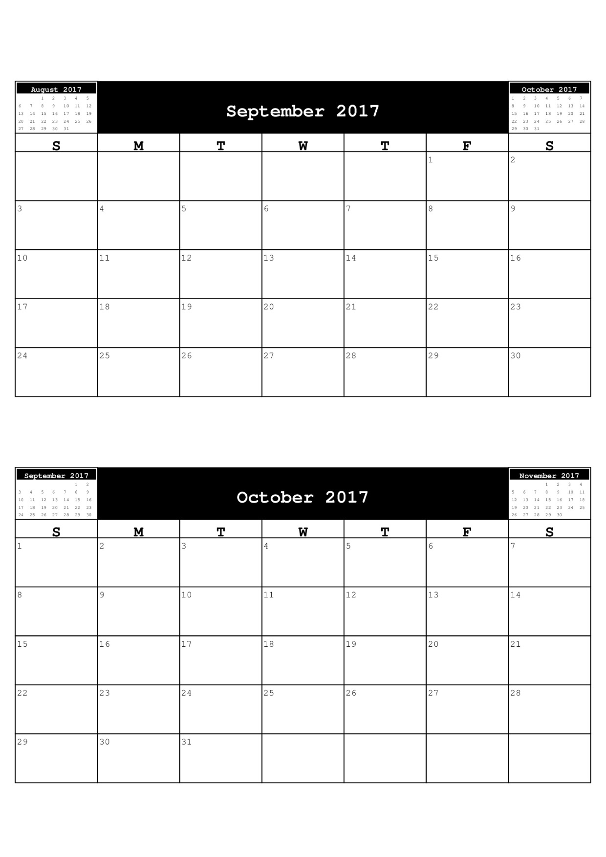 month calendar template free 2017 calendars to download free 2 month ...