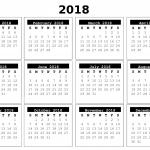 2018 Full Year Calendar.