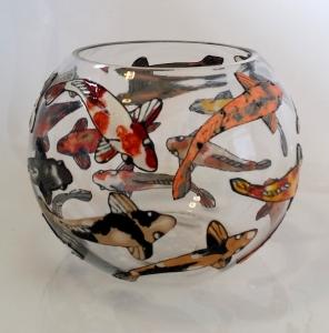Glass Painted Koi Carp Bowl.
