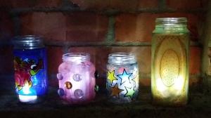Glass Painting on Jam Jars and Mason Jars.