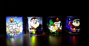 Glass Painting Christmas Project. Simple Lamp.