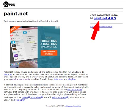 Downloading Paint.net
