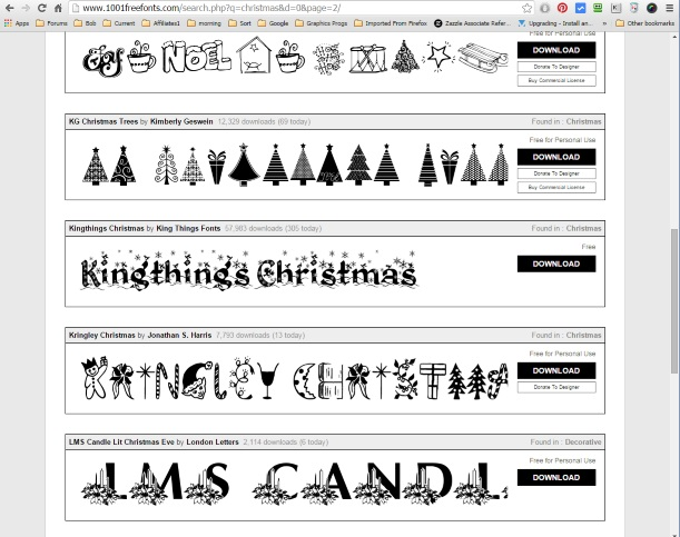 Using Christmas Fonts.