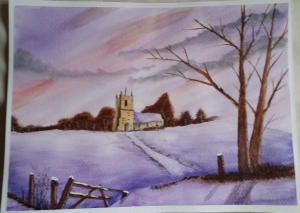 Learning Watercolour Painting: Church in snow.