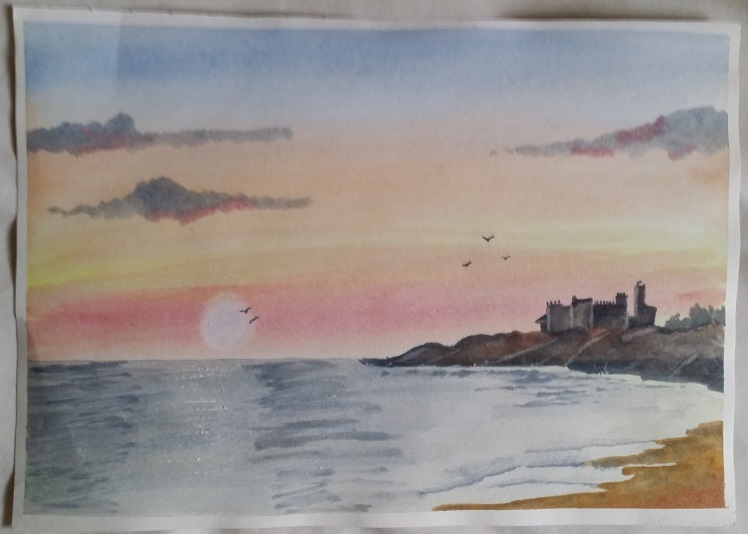 Learning Watercolour Painting - Seascape.