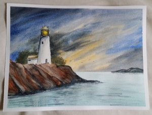 Learning Watercolour Painting - Lighthouse.