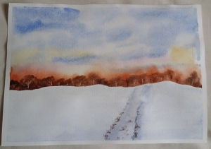 Learning Watercolour Painting - Snowscape.