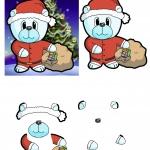 Christmas Bear 3D Decoupage.