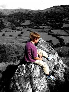 Boy: Colour on Grayscale.