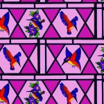 Free Stained glass birdsbacking paper.