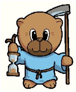 Father Time Bear Cross Stitch Chart.