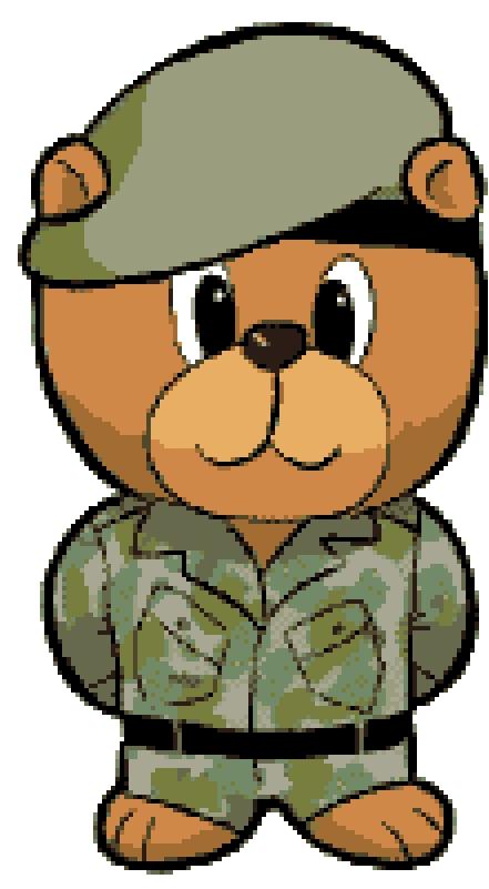 Army Bear Cross Stitch Chart.