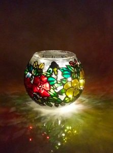 Glass Painted Vase.