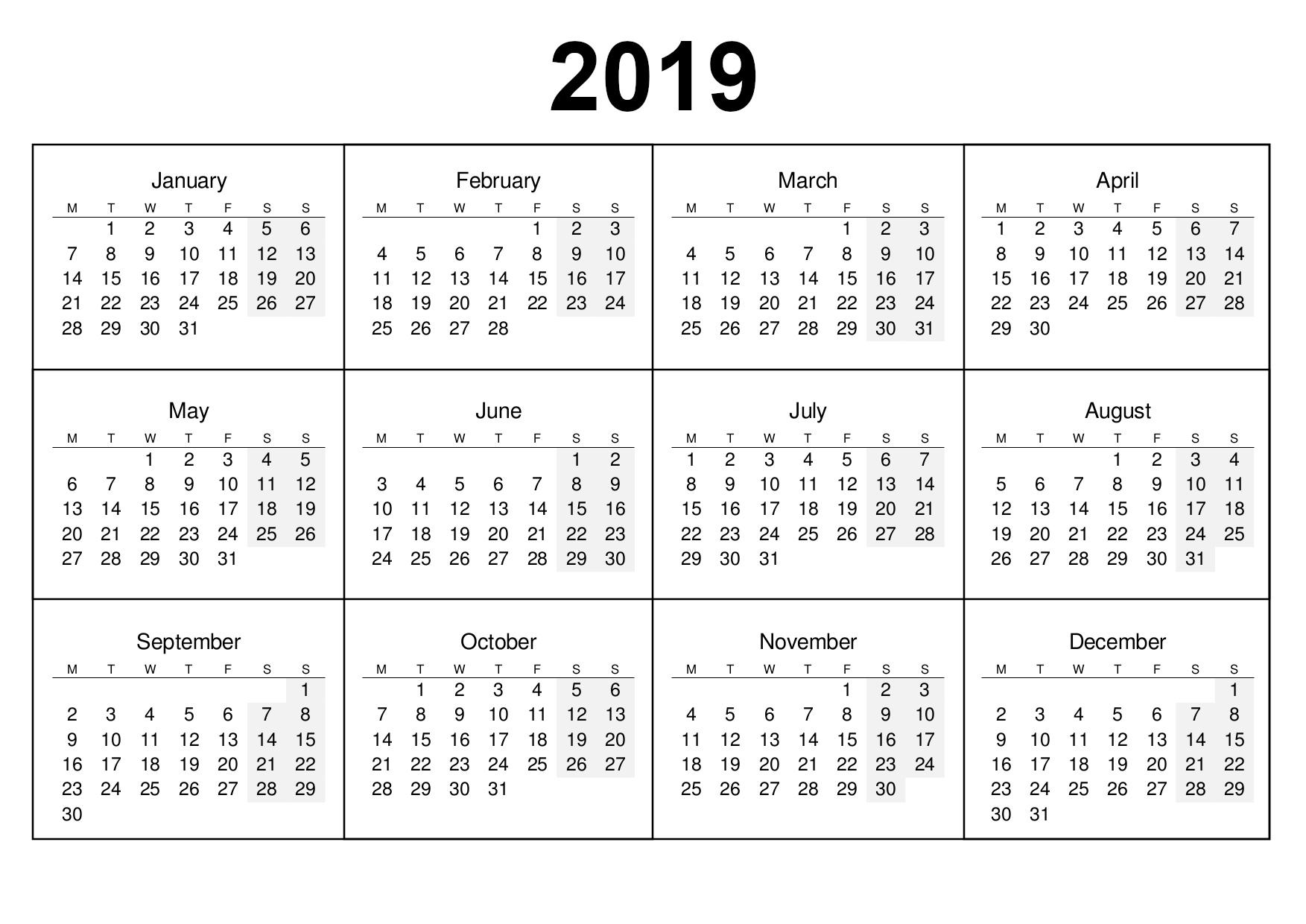 2018 Full Year Calendars.