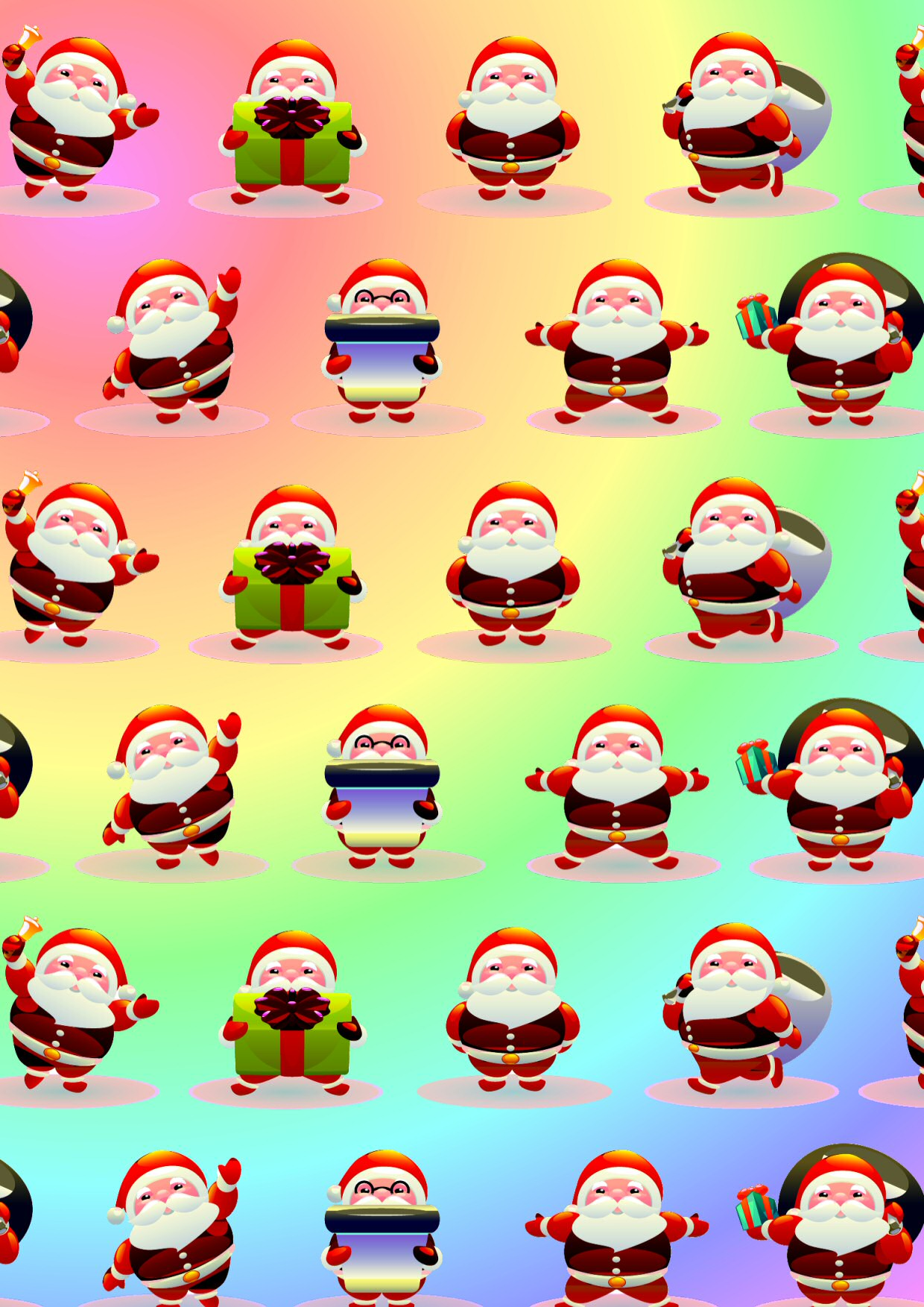 Cartoon Santa Christmas Papers.