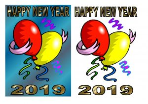 2019 New Year 3D decoupage sheets.