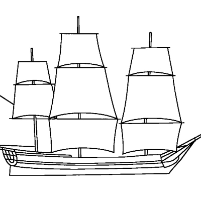 5x7 Sailing Ship Digital Stamp.