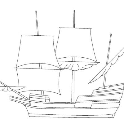 5x7 Sailing Ship Digital Stamp.
