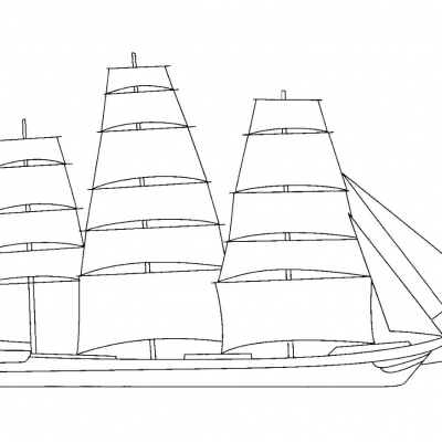 A5 Sailing Ship Digital Stamp.