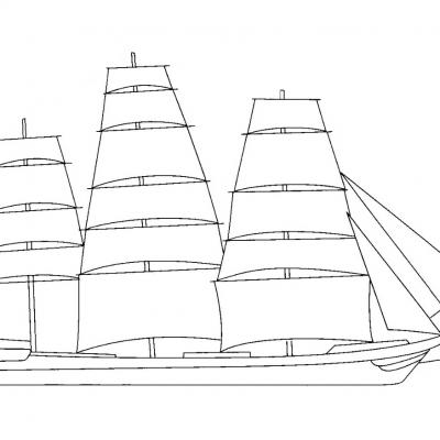 A5 Sailing Ship Digital Stamp.