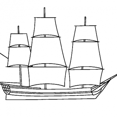 A6 Sailing Ship Digital Stamp.