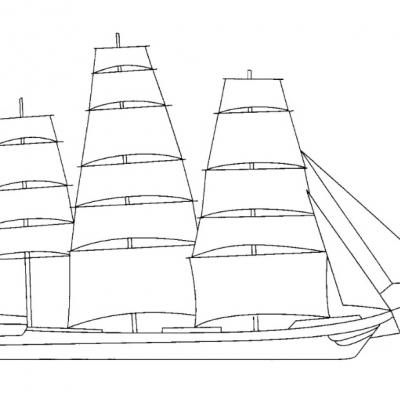 A6 Sailing Ship Digital Stamp.