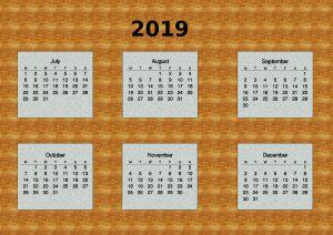 6 Month Calendar.