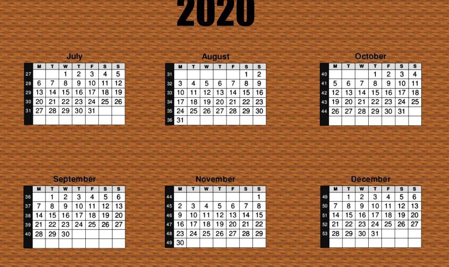 2020 Calendar 6 Months per Page.