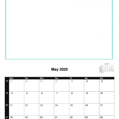 2019 A4 Calendar Template with Picture Space.