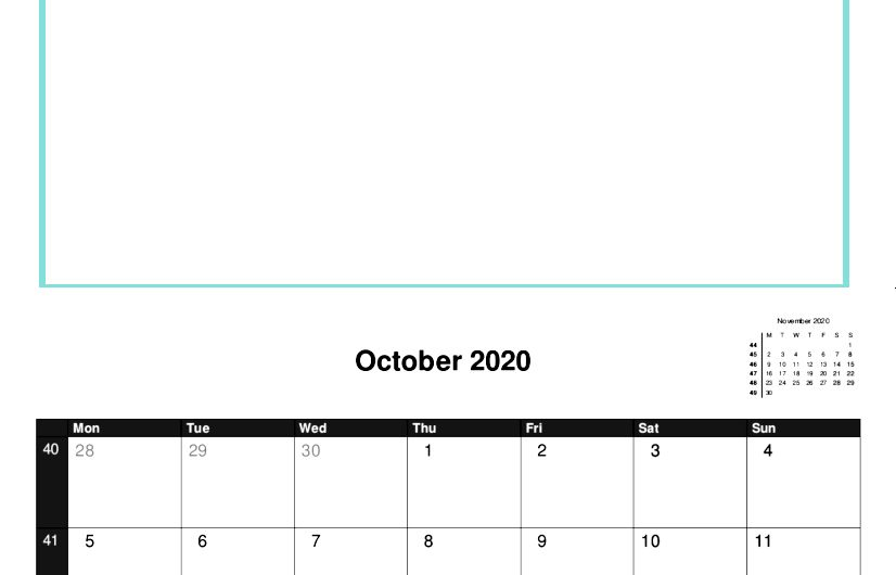2020 A4 Calendar Template with Picture Space.