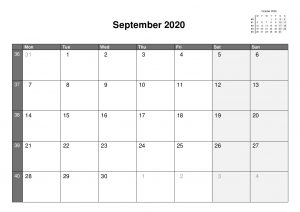 2020 A4 Single Month Calendars.