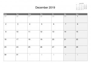 2019 A4 Single Month Calendars.