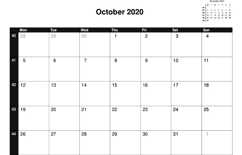 2020 A5 Single Month Calendars.