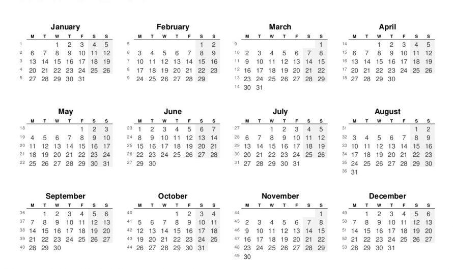 2020 Full Year Calendars.