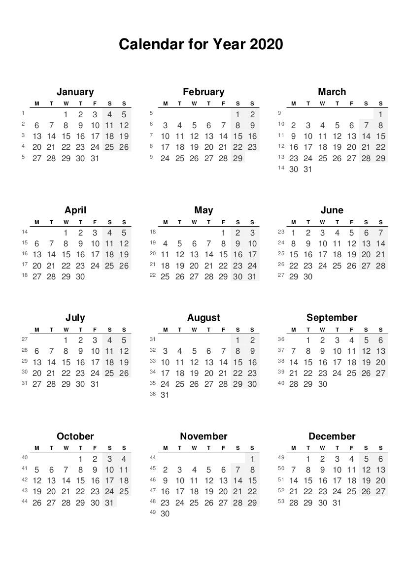2020 full year calendars